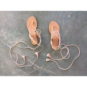 Faux Suede Lace Up Sandal